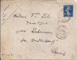 CHARENTE - 16 -  MONTEMBOEUF  TàD De Type A3  De 1923 - Postmark Collection (Covers)