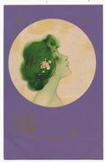 Raphael Kirchner MM Vienne Profil Femme Dans Cercle . Fonds Violet - Kirchner, Raphael