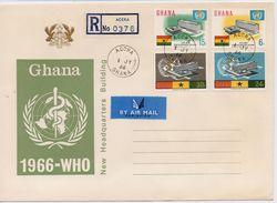 Ghana 1966, FDC WHO, Esculaap, Complete Set - Ghana (1957-...)