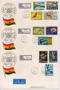 Ghana 1967, Overprints, Complete Set On 3 FDC's. Cv Stamps Only Is 45 Euro - Ghana (1957-...)