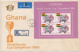 Ghana 1966, FDC Sports, Soccer, S/s. Cv Sheet Only Is 45 Euro - Ghana (1957-...)