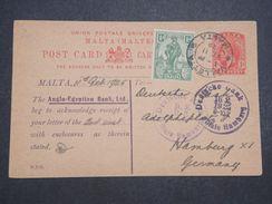 MALTE - Entier Postal + Complément Pour L 'Allemagne En 1925  , Repiquage Commerciale - L 10400 - Malte