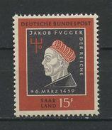 SARRE 1959 N° 427 ** Neuf MNH Superbe Jacob Fugger Le Riche Bois Gravé De Hans Burgkmair - Nuevos