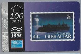 Gibraltar. GNC. Gibraltar Nynex Communications. WARSHIPS 1995. USS WEEHAWKEN. 100 UNITS. 2 Scans. - Gibraltar