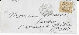 1876 - LETTRE LOCALE De PARIS RUE DU PONT NEUF CACHET à DATE OBLITERANT LE TIMBRE - Postmark Collection (Covers)