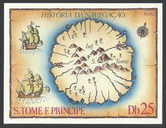 ST THOMAS AND PRINCE 1979 SHIPS MAPS NAVIGATORS M/SHEET MNH - Sao Tome And Principe
