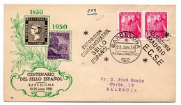 Carta Con Matasellos Commemorativo  Exposicion Commemorativa Sello Españo Barcelona 1950 Circulada - 1931-50 Briefe U. Dokumente