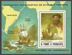 ST THOMAS AND PRINCE 1982 SHIPS MAPS NAVIGATORS MAGELLAN DELUXE M/SHEET MNH - Sao Tome And Principe