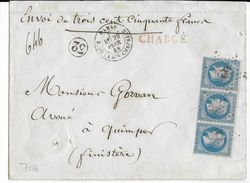 1868 - LETTRE CHARGEE De PARIS => QUIMPER - Postmark Collection (Covers)