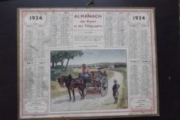 Almanach Postes Et Telegraphes 1934 Oberthur Carte Yonne - Kalenders