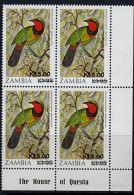 D0070 ZAMBIA 1989, SG 593 K15 On K1 95n Perrin's Bursh Shrike (bird) MNH Corner Block Of 4 - Zambia (1965-...)
