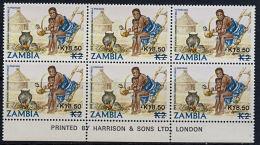 D0095 ZAMBIA 1989, SG 584  K18.50 On K2 Pipe Smoking,  MNH Marginal Block Of 6 - Zambia (1965-...)