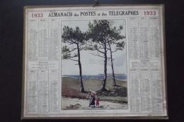 Almanach Postes Et Telegraphes 1933  La Baule Les Pins Carte Yonne Oberthur - Calendarios
