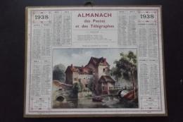 Almanach Postes Et Telegraphes 1938  Moulin Des Tracreniers Carte Yonne Oberthur - Calendarios