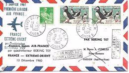 FRANCE EXTREME ORIENT  Air France  Première Liaison Par Quadriréacteur Boeing 707   13/12/60 - Poste Aérienne
