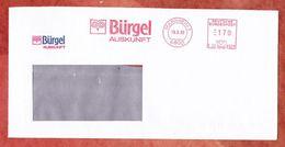 Brief, Pitney Bowes E22-9328, Stilisierte Eule, Buergel Auskunft, 170 Pfg, Mannheim 1992 (43965) - Machine Stamps (ATM)