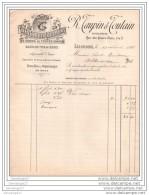 36 202 ISSOUDUN 1898 Fabrique De Liqueur Fine Et Sirop R. TAUPIN Et  TOUTAIN Kirsch Rhum Cognac 1898 Eaux De Vie I - 1800 – 1899