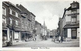 Soignies.Rue De Mons.avec Vue Sur Le Grand Bazar Pécher éditeur... - Soignies
