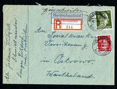 DR Einschreiben Landpost Versicherung 1944 Horlenhauland über Krotoschin Nach Ostrowo L1084 - Deutschland