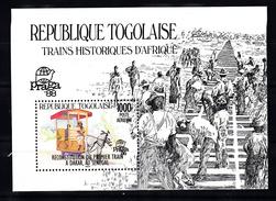 Trein, Train, Locomotive, Eisenbahn: Togolaise 1988 Mi Nr  Blok 302 , International Philatelic Exhibitions Praga 1988 - Trains