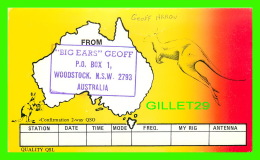 "QSL - ""BIG EARS"" GEOFF - WOODSTOCK, N.S.W. AUSTRALIA - KANGAROO - - Radio Amateur"