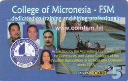 Micronesia, FSM-R-014, $5, College Of Micronesia, Boat, 2 Scans. - Micronesia