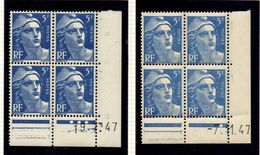 L039N°719B - 5f Bleu - Marianne De GANDON - Lot De 2 Coins Datés ** - Dated Corners