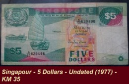 Singapour - 5 Dollars - Undated (1977) - KM 35 - Singapore
