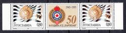 Yugoslavia 1995  50 Years Anniversary Sport Club Partizan Belgrade, Football, Soccer, Middle Row MNH - 1992-2003 Sozialistische Republik Jugoslawien