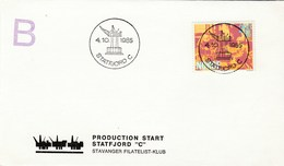 1985 Stratjord C OIL FIELD Starts PRODUCTION Event COVER Card NORWAY Stamps Energy Petrochemicals Minerals - Oil