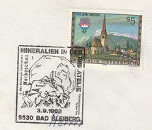 1988 Bad Bleiberg MINERALS  EVENT COVER Austria  Stamps Heraldic - Minéraux