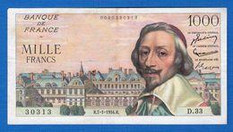 1000 Fr  Du  7/1/1954 - 1 000 F 1953-1957 ''Richelieu''