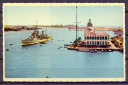 1953 , EGIPTO ,  POSTAL CIRCULADA , PORT SAID , OFICINAS DE LA COMPAÑIA DEL CANAL DE SUEZ DESDE EL INTERIOR DEL CANAL - Puerto Saíd