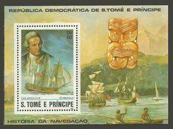 ST THOMAS AND PRINCE 1982 SHIPS EXPLORERS CAPTAIN COOK M/SHEET MNH - Sao Tome And Principe