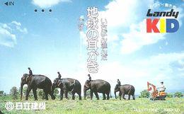 ELEPHANT * ANIMAL * EXCAVATOR * CONSTRUCTION MACHINES * Landy KID * Japan - Télécartes