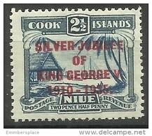 Niue - 1935 King George V Silver Jubilee Overprint 2.5d MNH **  Sc 68 - Niue