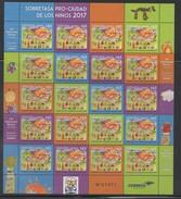 Costa Rica 2017 New MNH Sheet Christmas Tax Pro Cuidad De Los Niños - Costa Rica