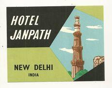 NEW DELHI ETIQUETTE HOTEL JANPATH PUBLICITE CHROMOGRAPHIE ILLUSTRATEUR INDE INDIA - Old Paper