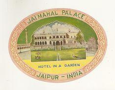 JAIPUR ETIQUETTE HOTEL JAIMAHAL PALACE PUBLICITE CHROMOGRAPHIE ILLUSTRATEUR INDE INDIA HOTEL IN A GARDEN - Old Paper