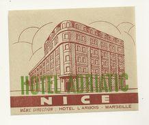 06 NICE ETIQUETTE HOTEL ADRIATIC PUBLICITE CHROMOGRAPHIE ILLUSTRATEUR ALPES MARITIMES - Old Paper