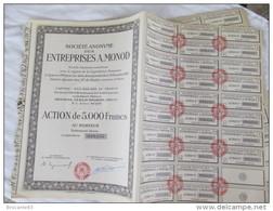 ACTION DE 5000 FR ENTREPRISE A MONOD DE 1920 AVEC 28 COUPONS - Actions & Titres