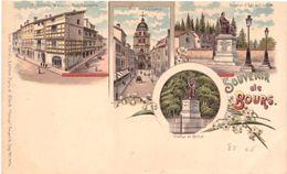 Peu Courante Carte Souvenir De Bourg Rue Gambetta Notre Dame Statue Edgard Quinet Statue De Bichat - Bourg-en-Bresse