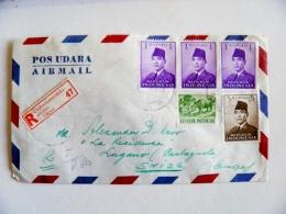 Cover From Indonesia To Switzerland Animals 1961 Badak Rhino Registered Djakarta - Indonésie