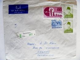 Cover From Indonesia To Switzerland 1961 Registered Djatinegara Animal - Indonésie
