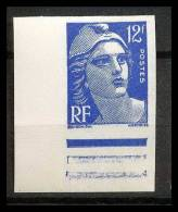 France N°812 Coin De Feuille Gandon Non Dentelé ** MNH (Imperforate) - France