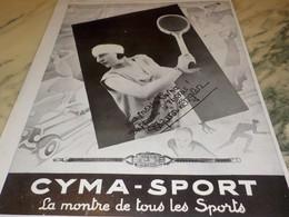 ANCIENNE AFFICHE PUBLICITE MONTRE  CYMA SPORT 1928 - Autres