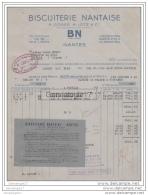 44 807 NANTES LOIRE INF 1943 ( Avec Ajouti GUERRE RATIONNEMENT )  BISCUITERIE NANTAISE BN Ets  COSSE -  LOTZ  ˆ  JOLLY - Food