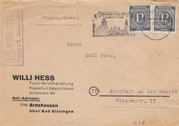 BRIEF. 8.47. 12Pf MeF. FRANKFURT TO NEUSTADT - Zone Française