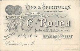 LEVALLOIS PERRET -Vins & Spiritueux C Rouch,85 Rue Gide (carte Format 12 X 7,8cm). - Levallois Perret