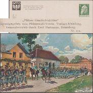 Bavière 1913. Carte Postale, Entier Timbré Sur Commande. Marche Des Troupes Bavaroises Sur La Forteresse De Landau - Militaria